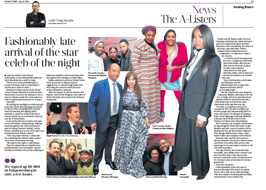 The A Listers column on the launch of Global Citizen in Johannesburg, South Africa